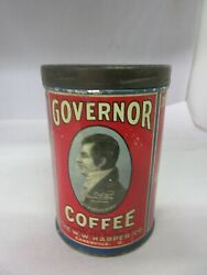 Vintage Advertising Governor Coffee Tin Can Collectible  920