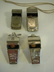 Lot Of 4 Vintage Metal Whistles Signal Police Acme Thunderer Unbranded And Uga