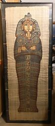 Original Khedr Egyptian Painting On Papyrus With Real Gold Paint
