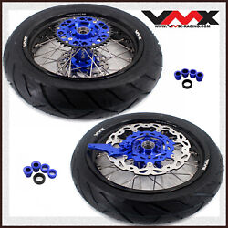 Vmx 3.5/4.25 Motorcycle Supermoto Wheel Rim With Tire Fit Ktm Sx Xc 250 530 Blue
