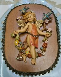 Michal Negrin Hand Decorated Wood Plaque Pictures 3d Cherub Child Angel New