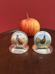 A Pair Sampson Mordan Game Bird Silver And Enamel Chester 1913 Place Name Holders
