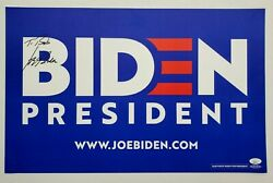 President Joe Biden Signed Official 2020 Campaign Rally Sign Poster Placard Jsa