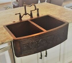 Copper Double 50/50 Copper Farmhouse Kitchen Sink Round Apron Guide Design