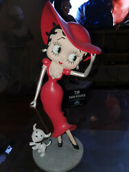 Extremely Rare Betty Boop In Red Glitter Dress Walking Pudgy Figurine Statue
