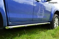 To Fit 2012 - 2016 Ford Ranger 4x4 Side Bars Tapered Ends Stainless Tubes + Leds