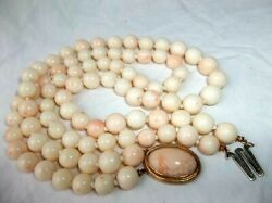Pr 14k Gold 19 Vintage Angel Skin Coral Double Beaded Necklace 128g Clasp 14g
