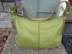 Fossil 75082 Lime Green Pebbled Leather Hobo New