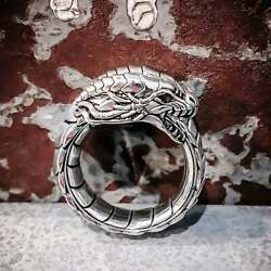 Fabulous Exotic Mythical Dragon Design Men's 925 Sterling Silver Unique Band