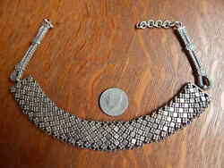 India 7 Ounces Rajasthan India Tribal Sterling Silver Vintage Collar Necklace
