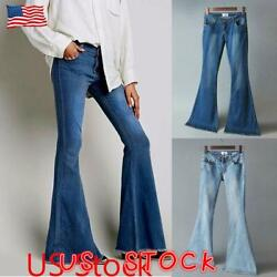 Us Womens Ladies Flared Bell Jeans Bottom Stretchy Denim Wide Leg Pants Trousers