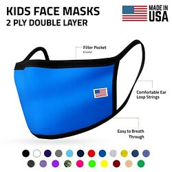Kids Size Face Mask For Children Boys Girls Cloth Double Layer Masks Made In Usa