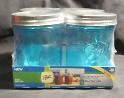 New Collection Elite 4 Perfect Mason Aqua Blue Wide/m Pint Jars W/ Rings And Lids