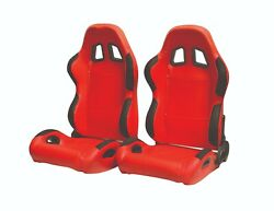 Cipher Auto Red Leatherette Universal Racing Seats W/seatbelt Bezels Pair New