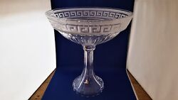 Scarce Ajka Hungry Crystal Greek Key Large Tall Footed Compote 13 1/2