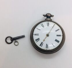 Antique English Sterling Silver Verge Fusee Jh Pocket Watch 1790