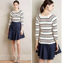 Anthropologie Moth Cute Cotton Blend Striped Ribbed Knit Sweater S $15.00