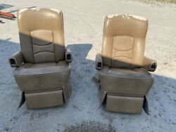 Flexsteel Rv Power Captainand039s Chairs Seats Pair Brown Motorhome Coach Used Worn
