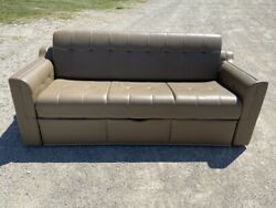 Flexsteel 83 Brown Fold And Tumble Sofa Couch Ft Pull-out Bed Rv Boat Motorhome