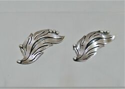 Maricela Taxco Sterling Silver Large Pair Leaf Motif Pins - Brooches 1960 Wow