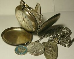 Rare Pocket Watch Bellevue For Imperial Russia Silver 84 + Chain Silver 84 Key