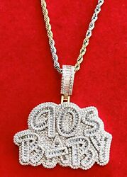 Men#x27;s 14K Gold Finish 90'S BABY BAGUETTE Pendant Charm Pc W Free Rope Chain $99.80