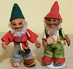 Vintage Steiff 5 Tall Gnomes Lucki And Pucki All Tags And Silver Script Butto