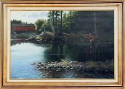 Marcel Bordei Morning Catch Fly Fishing Oil On Board Signed