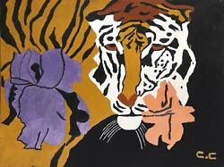 Clyde Dyn-o-mite, Tiger And Flowers, Oil On Board, Signed L.r.