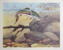 Bill Elliott Rainbow Trout Lithograph Signed And Numbered In Pencil