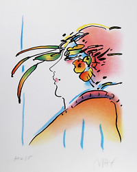 Peter Max Lady With Feathers Lithograph Signed And Numbered In Pencil