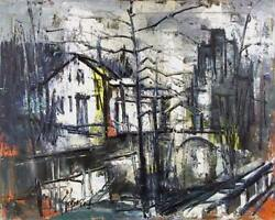 Stanley Sobossek, Village Canal, Oil On Canvas, Signed