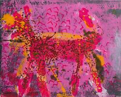 Peter Mayer, Dog Orange On Pink And Black, Acrylic, Sand, And Glitter On Canva