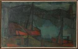 Jack Bilander, Fishing Boats And Bridge, Oil On Canvas, Signed And Dated L.r.