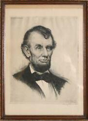 Josef Pierre Nuyttens, Portrait Of Abraham Lincoln, Etching, Signed And Dated In
