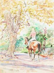 Marshall Goodman, Woman Riding Horse In Park, Watercolor On Paper