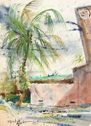 Marshall Goodman Palm Tree View Watercolor On Paper Signed