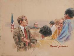 Marshall Goodman, Untitled - Seven Figures, Lawyer's Palm, Marker, Pencil, Water