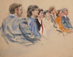 Marshall Goodman, Untitled - Seven Figures, Right Profiles, Marker, Pencil, Wate