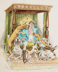 Marshall Goodman, A Man's Best Friends, Watercolor On Paper, Signed