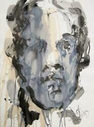 David Stern Portrait Acrylic And Mixed Media On Paper Signed L.r.