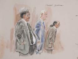 Marshall Goodman Courtroom 317-don King Watercolor On Paper Signed