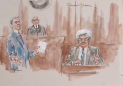 Marshall Goodman Courtroom 318-don King Watercolor On Paper Signed