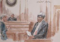 Marshall Goodman Courtroom 321-don King Watercolor On Paper Signed