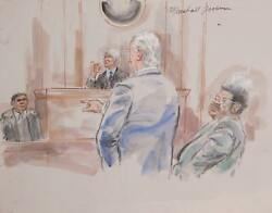 Marshall Goodman Courtroom 322-don King Watercolor On Paper Signed