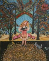 Jennie Novik Magic Forest Girl Oil On Canvas Signed And Dated