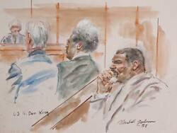 Marshall Goodman Us V. Don King Watercolor On Paper Signed