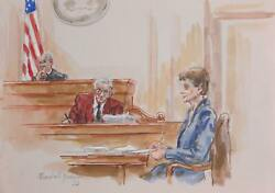 Marshall Goodman, Courtroom 332, Watercolor On Paper, Signed