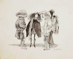 Marshall Goodman Group Of Stylish Hippies Watercolor On Paper Signed