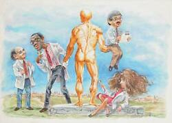 Marshall Goodman, Group Of Doctors With Anatomical Man 402, Watercolor On Boar